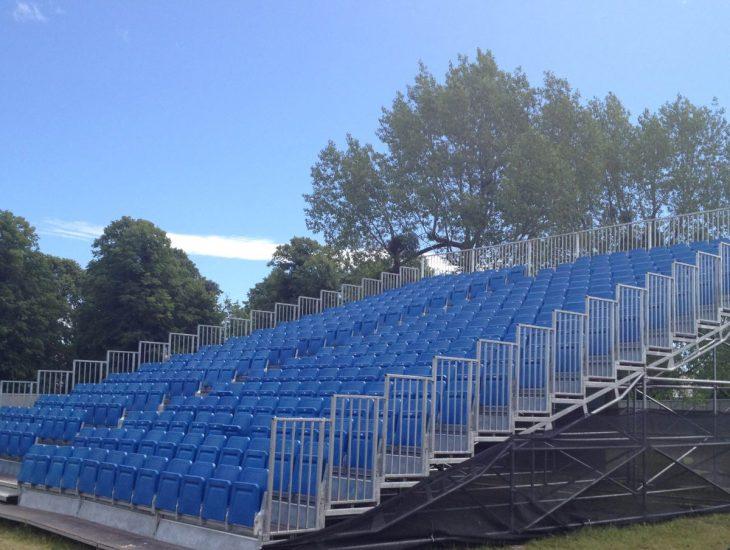 Secondhand demountable grandstands for sale at Border Group
